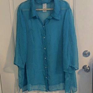 Sheer Teal Button-down